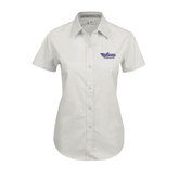 Ladies White Twill Button Up Short Sleeve-Stonehill Skyhawks