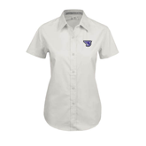 Ladies White Twill Button Up Short Sleeve-S
