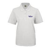 Ladies Easycare White Pique Polo-Stonehill Skyhawks