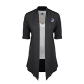 Ladies Grey Drape Front Cardigan-Official Logo