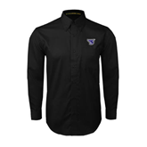 Black Twill Button Down Long Sleeve-S