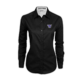 Ladies Black Twill Button Down Long Sleeve-S