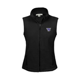 Ladies Fleece Full Zip Black Vest-S