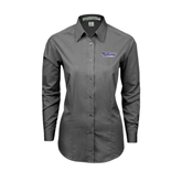 Ladies Grey Tonal Pattern Long Sleeve Shirt-Stonehill Skyhawks