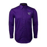 Purple Twill Button Down Long Sleeve-S