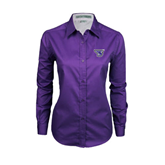 Ladies Purple Twill Button Down Long Sleeve-S
