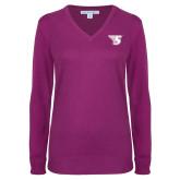 Ladies Deep Berry V Neck Sweater-Primary Mark