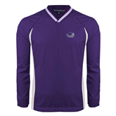 Colorblock V Neck Purple/White Raglan Windshirt-Official Logo