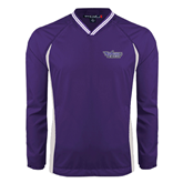 Colorblock V Neck Purple/White Raglan Windshirt-Stonehill Skyhawks
