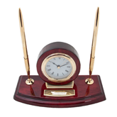 Executive Wood Clock and Pen Stand-Skyhawks Engraved