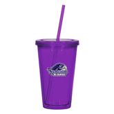 Madison Double Wall Purple Tumbler w/Straw 16oz-Official Logo