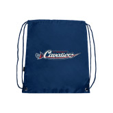 Nylon Navy Drawstring Backpack-Official Logo