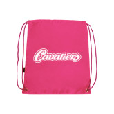 Nylon Pink Drawstring Backpack-Cavaliers Script
