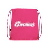 Pink Drawstring Backpack-Cavaliers Script