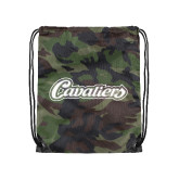 Nylon Camo Drawstring Backpack-Cavaliers Script