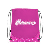 Nylon Pink Bubble Patterned Drawstring Backpack-Cavaliers Script