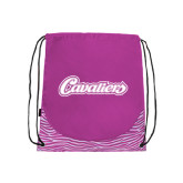 Nylon Zebra Pink/White Patterned Drawstring Backpack-Cavaliers Script