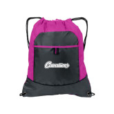 Nylon Pink Raspberry/Deep Smoke Pocket Drawstring Backpack-Cavaliers Script