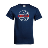 Navy T Shirt-Cavaliers Basketball Lined