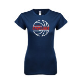 Next Level Ladies SoftStyle Junior Fitted Navy Tee-Cavaliers Basketball Lined