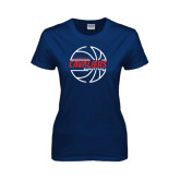 Ladies Navy T Shirt-Cavaliers Basketball Lined
