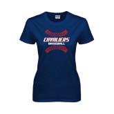Ladies Navy T Shirt-Cavaliers Baseball Seams