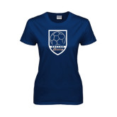 Ladies Navy T Shirt-Cavaliers Soccer Shield