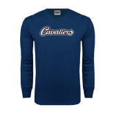 Navy Long Sleeve T Shirt-Cavaliers Script