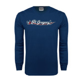 Navy Long Sleeve T Shirt-St. Gregorys w/ Sword