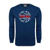 Navy Long Sleeve T Shirt-Cavaliers Basketball Lined