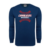 Navy Long Sleeve T Shirt-Cavaliers Baseball Seams