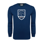 Navy Long Sleeve T Shirt-Cavaliers Soccer Shield