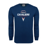 Navy Long Sleeve T Shirt-Cavaliers Lacrosse Abstract Stick Head