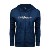 ENZA Ladies Navy Fleece Full Zip Hoodie-St. Gregorys w/ Sword