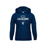Youth Navy Fleece Hoodie-Cavaliers Lacrosse Abstract Stick Head