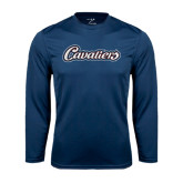 Syntrel Performance Navy Longsleeve Shirt-Cavaliers Script