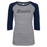 ENZA Ladies Athletic Heather/Navy Vintage Triblend Baseball Tee-Cavaliers Script Graphite Glitter