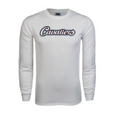 White Long Sleeve T Shirt-Cavaliers Script