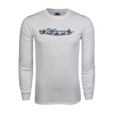 White Long Sleeve T Shirt-St. Gregorys w/ Sword