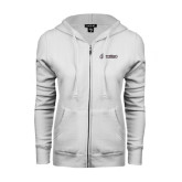 ENZA Ladies White Fleece Full Zip Hoodie-Cavaliers Script