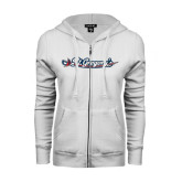 ENZA Ladies White Fleece Full Zip Hoodie-St. Gregorys w/ Sword