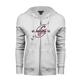 ENZA Ladies White Fleece Full Zip Hoodie-St. Gregorys w/ C