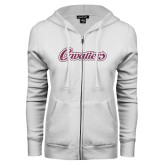 ENZA Ladies White Fleece Full Zip Hoodie-Cavaliers Script Pink Glitter