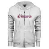 ENZA Ladies White Fleece Full Zip Hoodie-Cavaliers Script Pink Glitter