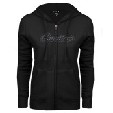 ENZA Ladies Black Fleece Full Zip Hoodie-Cavaliers Script Graphite Glitter