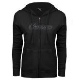 ENZA Ladies Black Fleece Full Zip Hoodie-Cavaliers Script Graphite Glitter