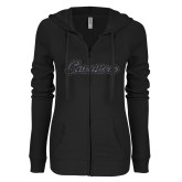 ENZA Ladies Black Light Weight Fleece Full Zip Hoodie-Cavaliers Script Graphite Glitter