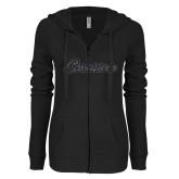 ENZA Ladies Black Light Weight Fleece Full Zip Hoodie-Cavaliers Script Graphite Glitter