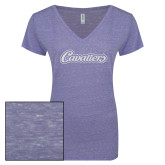 ENZA Ladies Surfer Blue Melange V Neck Tee-Cavaliers Script White Soft Glitter