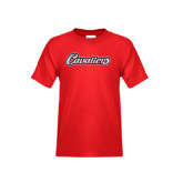 Youth Red T Shirt-Cavaliers Script